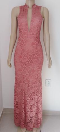 Vestido De Madrinha Rosê Gold Longo Festa Casamento Luxo Elegance