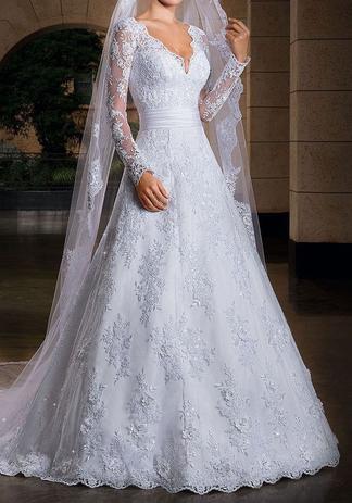 Vestido De Noiva Com Véu Longo Brinde Lindo Casamento Cód30 Life