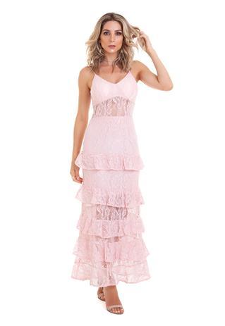 Imagem de Vestido de Renda Longo Babados