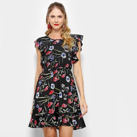Vestido Estampado Floral Lily Fashion Com Babado