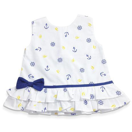 Vestido Estampado Para Bebê Navy Menina Retrô 3 à 6 Meses Mamute Bebê