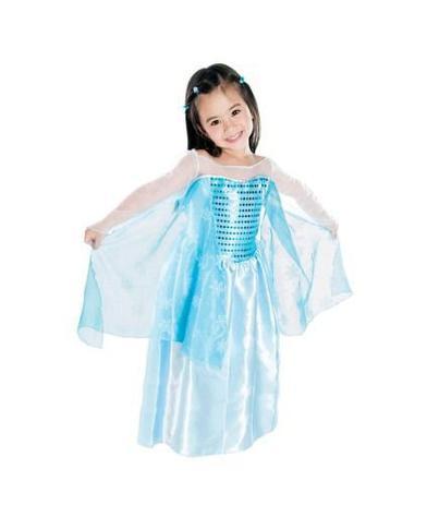 Vestido Fantasia Brilhante Frozen Infantil Com Glitter Brink Model