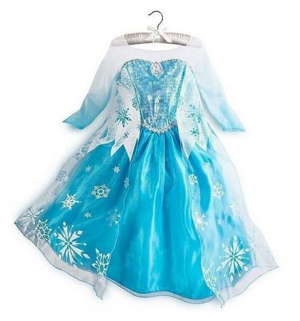 Vestido Fantasia Infantil Elsa Frozen Azul