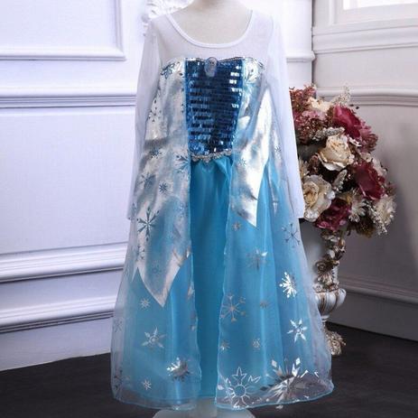 Menor Preço Em Vestido Fantasia Infantil Elsa Frozen Azul