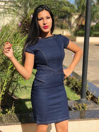 17fe71ca71 Menor preço em Vestido Feminino Jeans Com Lycra Moda Feminina Cor Azul  Petróleo detalhes Lacinho borboleta