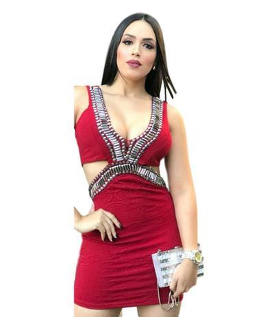 04d202314de76 Vestido Festa Feminino Curto Pedraria Vermelho Decote Sexy - Menina veneno  vestido panicat