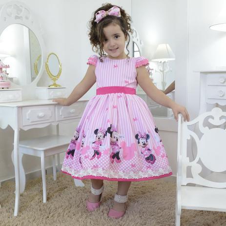 Vestido Festa Infantil Minnie Rosa Superluxo Moderna Meninas