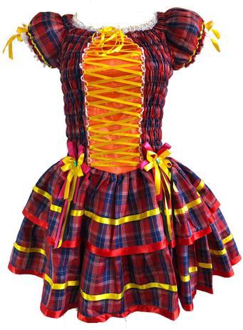 Vestido Festa Junina Luxo Adulto Vermelho Azul Laranja - Moda junina ... fabff83d48f