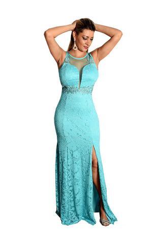 Vestido Festa Longo Azul Tiffany Madrinha Casamento Grife Velasco