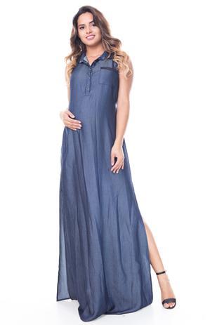 Vestido Gestante Longo Gola Couro Azul Escuro A Gestante