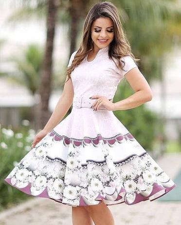 72fe556be3 Vestido Godê Laís Neoprene Moda Evangélica - Flor de amêndoa ...