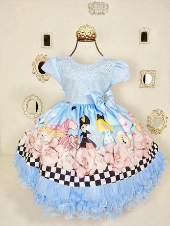 3e53012d5 Vestido Infantil Alice No Pais das Maravilhas 1765 - Menina bonita ...