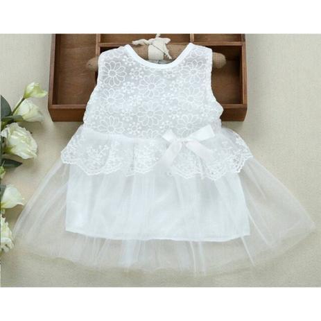 8a7c8efdb1 Vestido Infantil bebe Menina Princesa Batizado Casamento detalhes renda até  3 meses Cor Branco perolado - Spunk kids