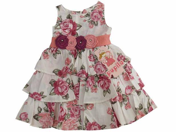 7a48d92c790380 Vestido infantil com 3 babados e 4 Flores na Cintura Pupila-4 anos