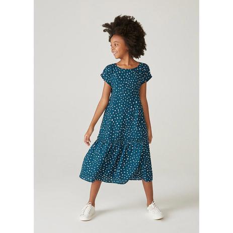 Imagem de Vestido Infantil Evasê Midi Estampado Mini Me