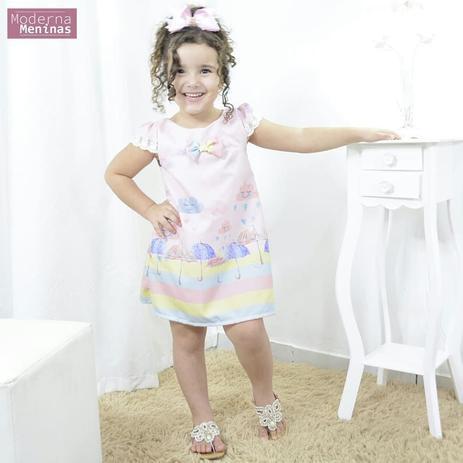 Vestido Infantil Festa Chuva De Amor E Bênçãos Tubinho Trapézio Moderna Meninas Off