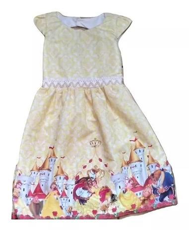 Vestido Infantil Menina Desenho A Bela E A Fera 6 A 7 Anos Amarelo