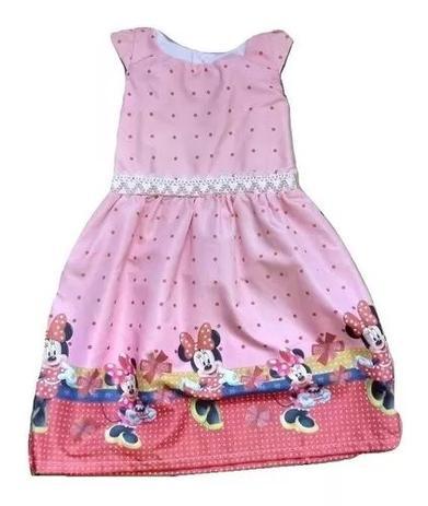 Vestido Infantil Menina Desenho Minnie 6 A 7 Anos Cor Laranja