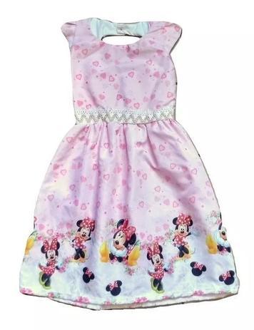 Vestido Infantil Menina Desenho Minnie 6 A 7 Anos Cor Rosa Claro