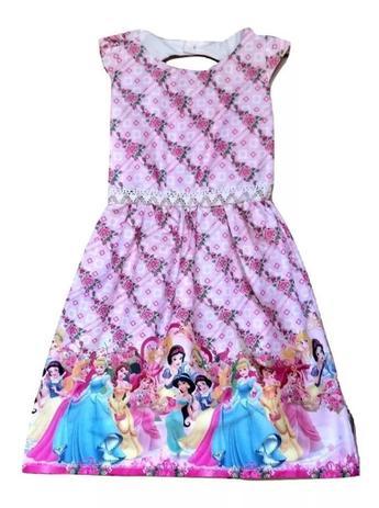 Vestido Infantil Menina Desenho Princesas 6 A 7 Anos Cor Rosa