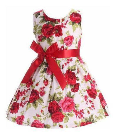Imagem de Vestido Infantil Menina Florido Com Laço Festa
