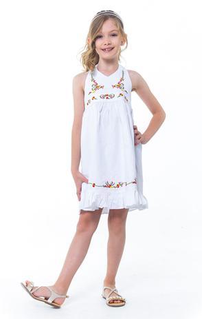 79a70f661 Vestido Infantil Menina Frente Única Branco - Tamanho 2 - Casa de bonecas
