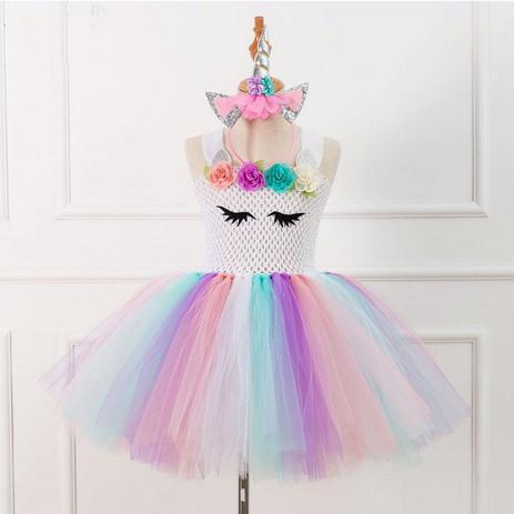 2cf033edfd Vestido Infantil Unicórnio Tule Festa Aniversário - Frozen - Vestido ...