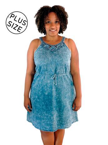 e8d3dd296e2a Vestido Infinity Fashion Curto Plus Size Azul Jeans - Vestido ...