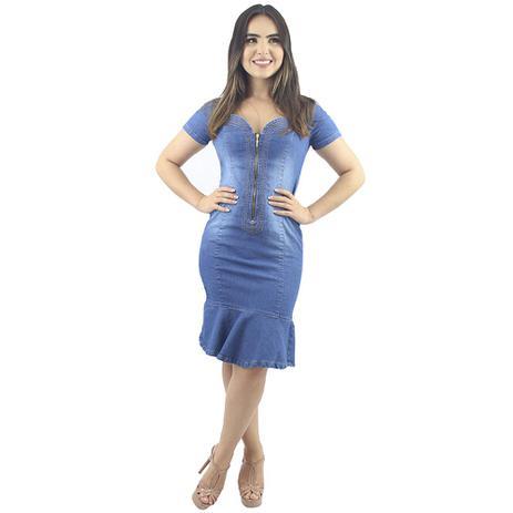 Imagem de Vestido Jeans Evangélico com Babado Zíper Delavê Ref. 5006