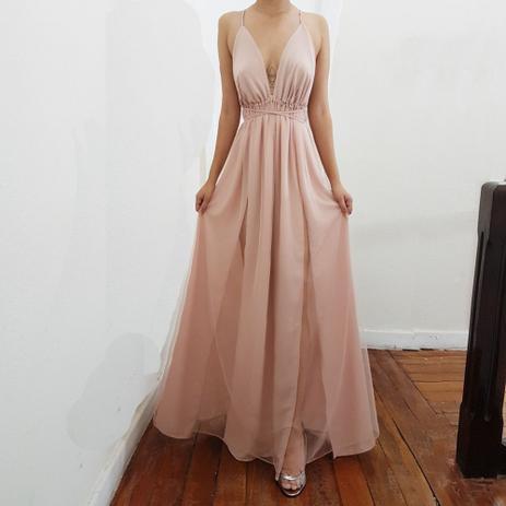 57681ed88 Vestido Longo Anitta Duas Fendas Com Tule Importado - Rose - Ateliê my way