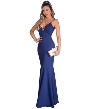943fd20b1d99 Vestido Longo Azul Marinho Madrinha Casamento Formatura - Menina veneno  vestido panicat