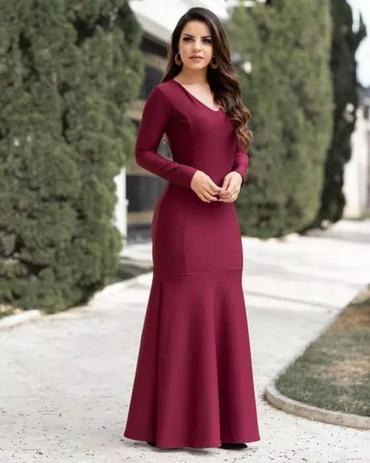 fccccf0ce2 Vestido Longo Eduarda Vinho Manga longa Moda Evangélica - Flor de amêndoa