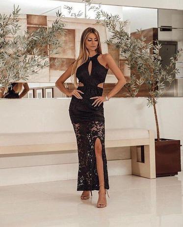 Vestido Longo Elegante Em Renda E Tule Fenda Na Perna Lançamento Elegance