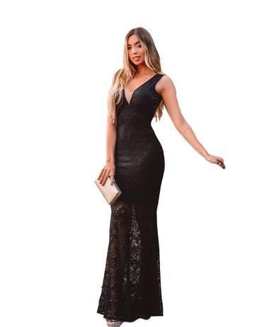 Vestido Longo Formatura Casamento Preto Social Menina Veneno Vestidos Panicat