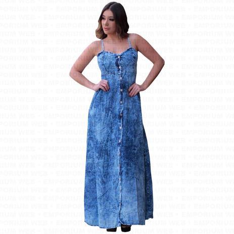 ea1ad4c45 Vestido Longo Jeans Alça Regulável e Botões frontal Moda Plus Size (P ao  G3) - Azul Claro - Ewf
