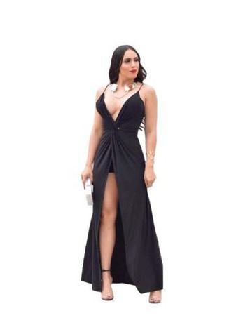 Vestido Longo Preto Madrinha Festa Formatura Decote Sexy Menina Veneno Vestido Panicat