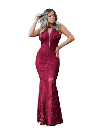 2badd87ae05 Vestido Longo Renda Madrinha Marsala Formatura Casamento - Elegance ...