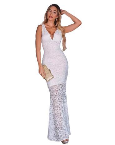 92c99d5b3 Vestido Longo Semi Sereia Casamento Civil Noivas Branco Off - Menina veneno  vestidos panicat