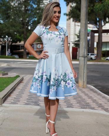 2601ae24a2 Vestido Midi Aline Azul Floral com Cinto Moda Evangélica - Flor de amêndoa