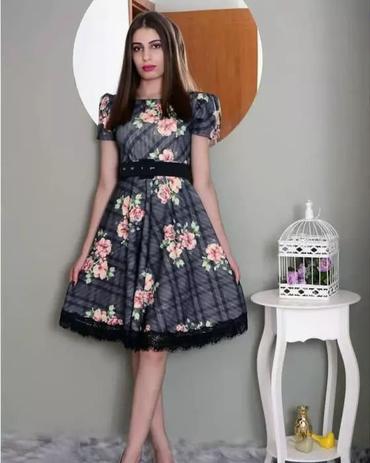 135aabde41 Vestido Midi Cinza Estampado Detalhe em Renda Moda Evangélica - Flor de  amêndoa
