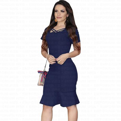 eadba9cf88e7 Vestido Midi Jeans Tubinho com Babado Moda Evangélica e Plus Size (P ao G3)  - Azul Escuro - Ewf