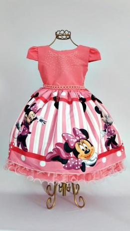 Vestido Minnie Rosa Luxo Festa Aniversario 1 Ao 4 Baila Nina