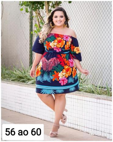 7650da3f4 Vestido Plus Size Ciganinha estampado 56 ao 60 Roupas Femininas - Bellucy  modas