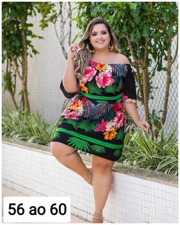 feb6ba3a40ae Vestido Plus Size Ciganinha estampado 56 ao 60 Roupas Femininas - Bellucy  modas
