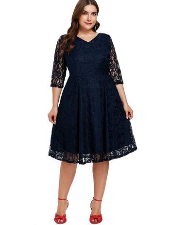 16415e174e Vestido Plus Size Renda Noite Festa Rodado Aniversario - Shoopweb ...