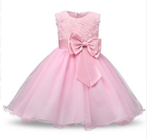 Vestido Princesa Primeiro Aniversário Batismo Daminha Rosa Baby Dollls