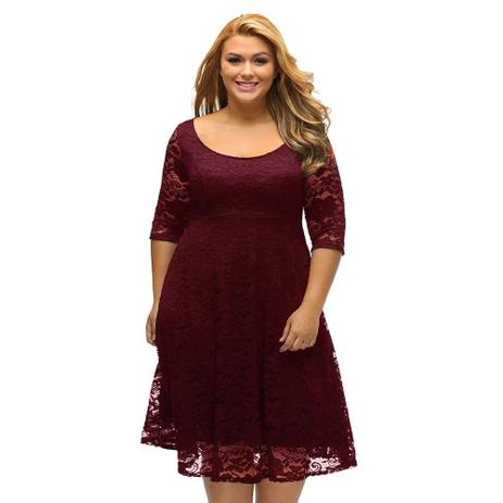 e4448cc159 Vestido Renda Moda Plus Size Madrinha Festa Batizado Casamento Noite -  Shoopweb