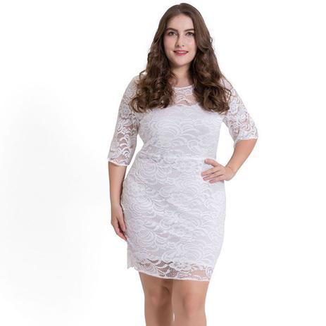 Vestido Renda Plus Size Rendado Civil Festa Casamento Shoopweb
