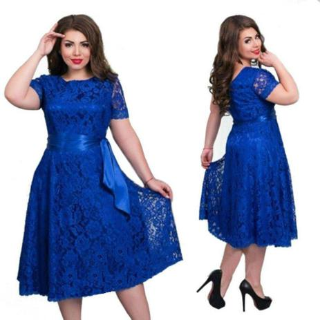 35025990ebbe Vestido Renda Plus Size Rodado Festa Casamento Madrinha - Shoopweb ...