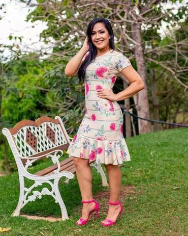 dca0722430 Vestido Tubinho Mara Peplum Floral Moda Evangélica - Flor de amêndoa ...